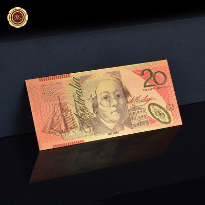 WR Color Australia $20 Dollar 'First' Year Polymer Note GOLD Paper Money Collect
