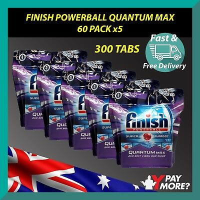 300pk Finish Quantum Max Powerball Super Charged Dishwasher Tablets Detergent