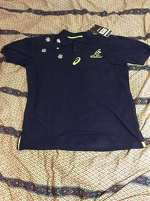 Wallabies Asics Team Supporter Polo Shirt. Australia Rugby Union Brand New!