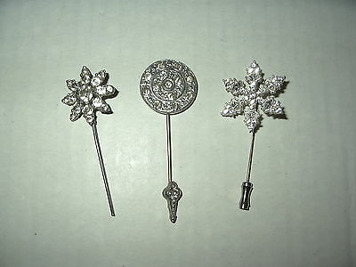 3 Vintage Art Deco Silvertone & Clear Crystal Stick Pin Brooches