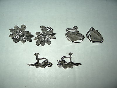 3 Pr. Vintage Signed Bond Boyd Sterling Silver Flower & Leaf Screw Back Earrings