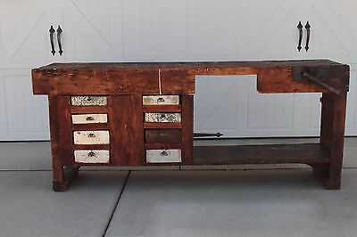 Early Antique Vintage Industrial Wood Carpenters Workbench Table Vise Drawers
