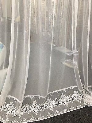 Denise Curtain  Lace -  213 cm drop  -IVORY- Rod Pocket-CLEARANCE PRICE