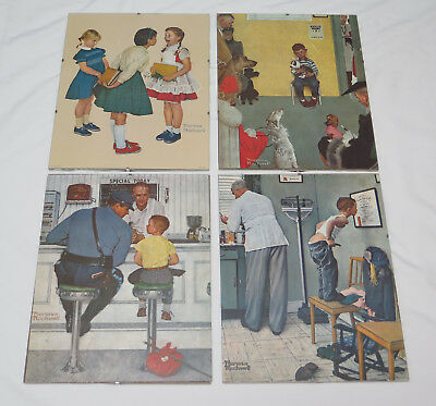 "Lot of 4 1972 Norman Rockwell 11""x14"" Art Litho Prints in Frameless Frames"