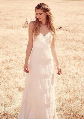 0bbef181b5158 Free People Women's Tiered Lace Maxi Wedding Dress Erin Fetherston Size 0  $378