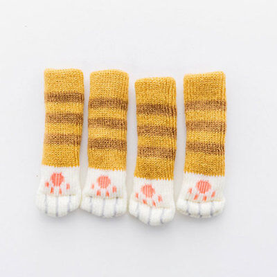 4pcs Cat Paw Printed Knitted Table Chair Foot Leg Cover Sleeve Stripped