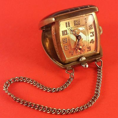 Vintage Swiss Purse Watch ( Black Purse With Chain ) 15 Jewels 40 mm x 32 x 12