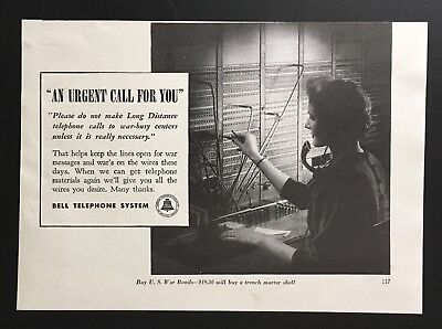 1943 Bell Telephone System wartime telephone operator WWII vintage print ad