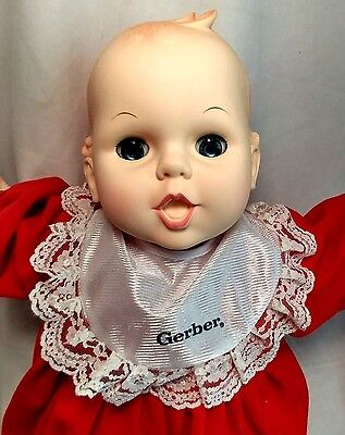 "Gerber Baby 1991 Red Bedtime Outfit Onesie 21"" Vinyl Doll Soft Huggable Body MIB"