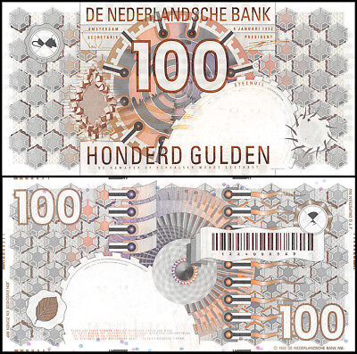 Netherlands 100 Gulden, 1992, P-101, UNC, Error, Missing Foil