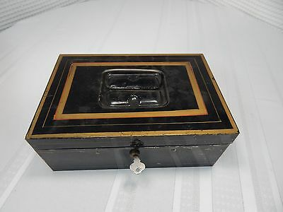 Vintage! Metal Hand Painted Cash Box/with Key