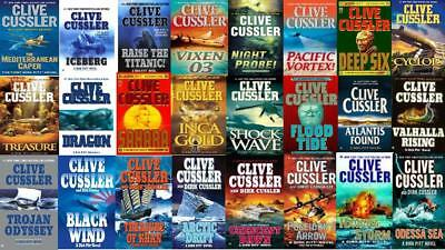 """Lot of 20 Clive Cussler """"Dirk Pitt """"  Hardcover Series-NYT Bestselling Author"""