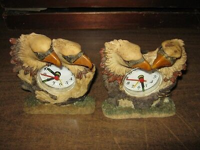 2 Different Double Eagle Head Alarm Clocks - battery operated