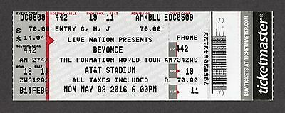 BEYONCE Full Unused Ticket Stub THE FORMATION TOUR @ AT&T STADIUM 2016 5/9 MINT