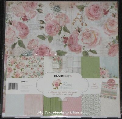 "Kaisercraft 'ROSE AVENUE' 12x12"" Paper Pk + Stickers Florals/Flowers KAISER"