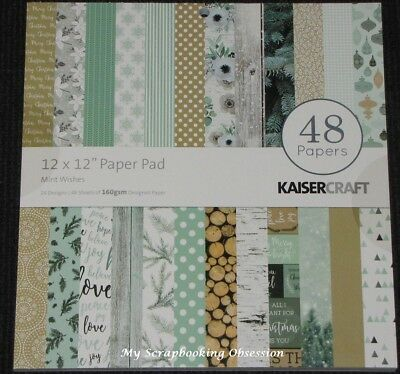 "Kaisercraft 'MINT WISHES' 12x12"" Paper Pad 48 Sheets (24 Designs x2) Xmas KAISER"