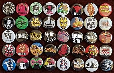Retro WWE 80's & 90's Wrestlng Button Badges. Pins. Collector. Bargain :0)