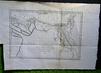 Ancient Egyptian Map Copper Plate Engraving From 1824 11x15