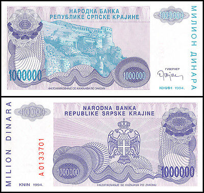 Croatia 1 Million Dinara, 1994, P-R33, UNC, Serbian Republic