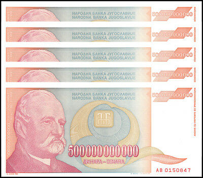 Yugoslavia 500 Billion Dinara X 5 Pieces (PCS), 1993, P-137, UNC