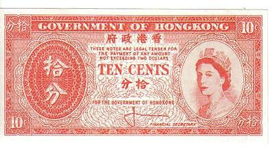 Hong Kong, 10 Cents, Qeii, Nd, Unc