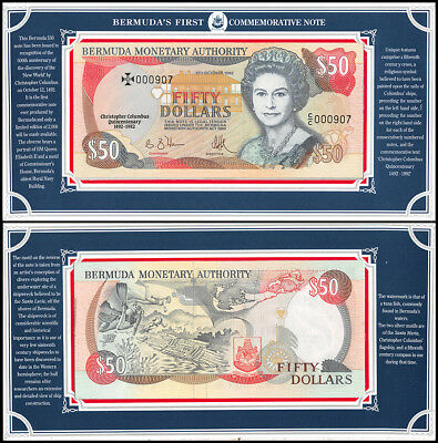 Bermuda 50 Dollar Commemorative Note, 1992, P-40, UNC, QEII, Serial # 000907