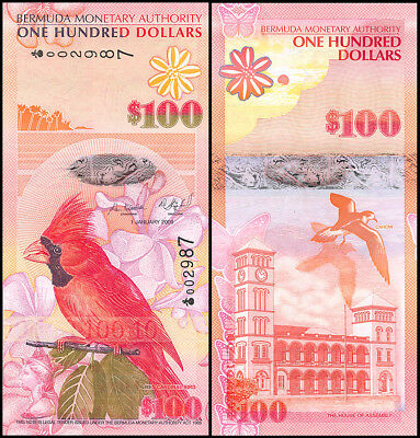 Bermuda 100 Dollars, 2009, P-62a, UNC, Onion Prefix, Serial# 002987