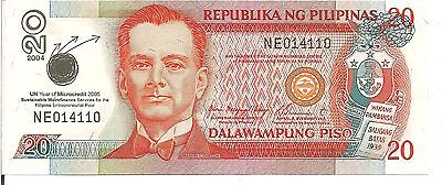 PHILIPPINES, 20 PISO, P#182h, UN year of Microcredit 2005, 2004, UNC