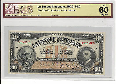 Canada, $10, Nationale (National Bank), Specimen, 1922, Unc-60