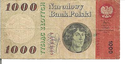Poland, 1000 Zlotych, Poland National Bank, P#141, 1965