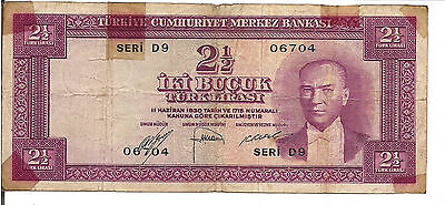TURKEY, 2 1/2 LIRA, P#153a, L. 1930(1960)