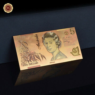 WR Colored Australia $5 2016 Polymer Banknote GOLD Foil Money Chirstmas Gift Him