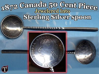 "1872 Canada 50 Cent Steling Silver Made Spoon ""UNIQUE"" 17.6 Grams 118mm Long"