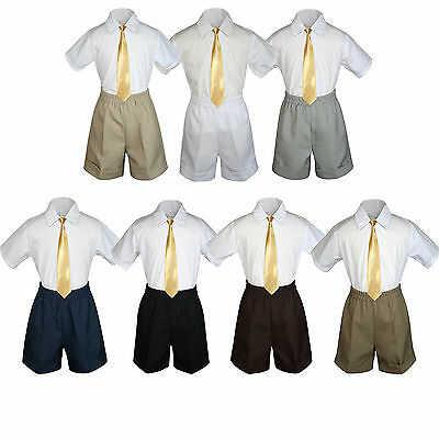 3pc Baby Boys Toddler Formal Mustard tie,White Gray Black Dark Khaki Shorts Set