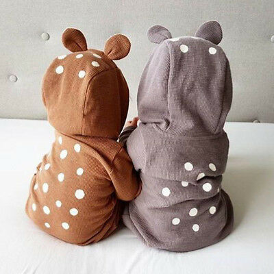 USStock Baby Boy Girl Infant Deer 3D Ear Bodysuit Romper Jumpsuit Clothes Outfit