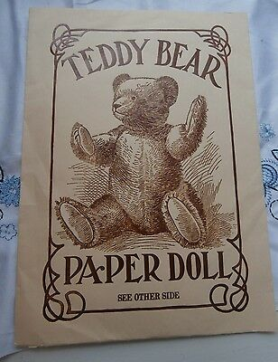 Collectible 1984 Merrimack Teddy Bear Paper Doll 5 costumes 5 hats 11 inches