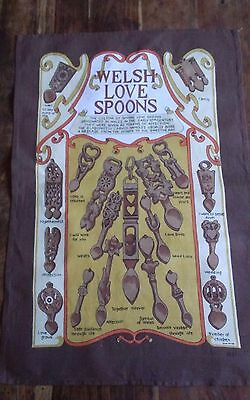 Vtg cotton tea towel Welsh Love Spoons Clive Major
