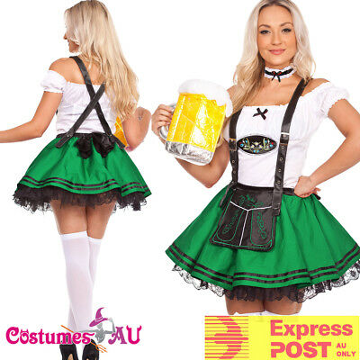 Ladies Green Beer Maid Wench Costume Oktoberfest German Fancy Dress Halloween