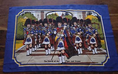 Vintage cotton tea towel scottish march pipes drums vista Britain