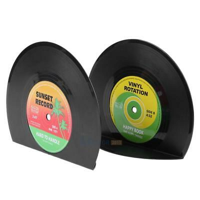 2pcs Creative Vinyl Record Shaped Book Shelves Holders #3YE