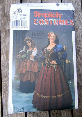 Oop Simplicity Costumes 8249 Renaissance theatre opera dress size 18-22 NEW