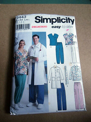 Oop Simplicity 5443 Easy to Sew Unisex Scrub LabJackets Pants tie size S-L NEW