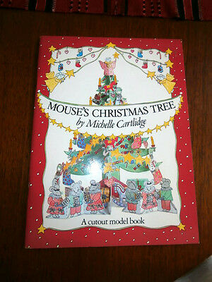 Vintage 1985 Michelle Cartlidge Mouses Christmas Tree cutout model book