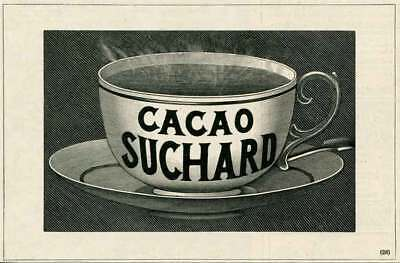 1903 Ad Print Cup Hot Cacao Suchard Engraving
