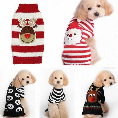 Dog Pet Christmas Clothes Costumes Puppy Cat Knit Sweater Coat Hoodie Apparel US