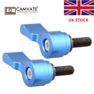 2x CAMVATE M5 Male Threaded Thumbscrew Knob for 15mm Rod Clamp Camera Cage Plate