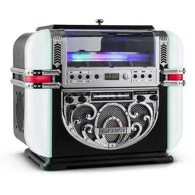 RICATECH RR700 1950s RETRO JUKEBOX PLAYER AM / FM RADIO CD STEREO AUX LED LIGHTS