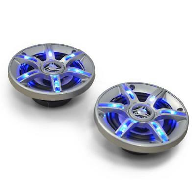 """Hifi 5"""" Car Audio Speakers Sound Loud 3-Way Coaxial Design Pair Blue Led Effects"""
