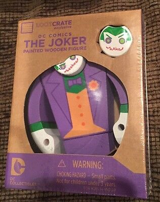 dc joker wooden figure loot crate exclusive lootcrate collectible new in box