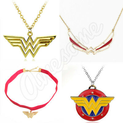Wonder Woman Logo Gold Plated Pendant Necklace with Chain